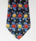 Elephant novelty tie with flowers pure silk made in Italy Extra long